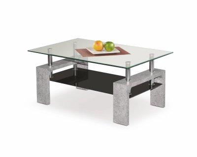 Masa de cafea, din MDF si sticla Diana Intro Beton Grey / Transparent, L100xl60xH45 cm