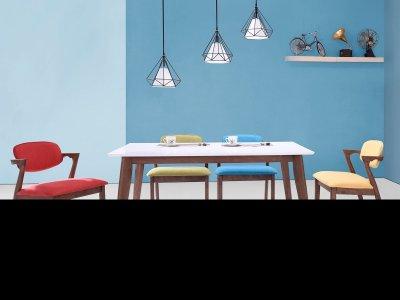Masa din MDF si furnir Ivonne Walnut/White, L150xl90xh75 cm