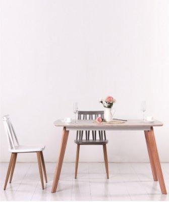Masa din pal si lemn de fag Arya White, L120xl80xH75cm