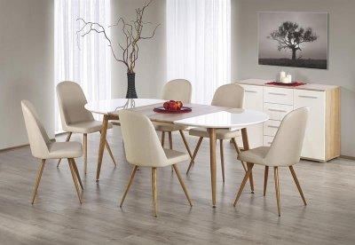 Masa extensibila pe sine din MDF si metal Edward White / Honey Oak, L120-200xl100xH75 cm, ovala, alb/stejar