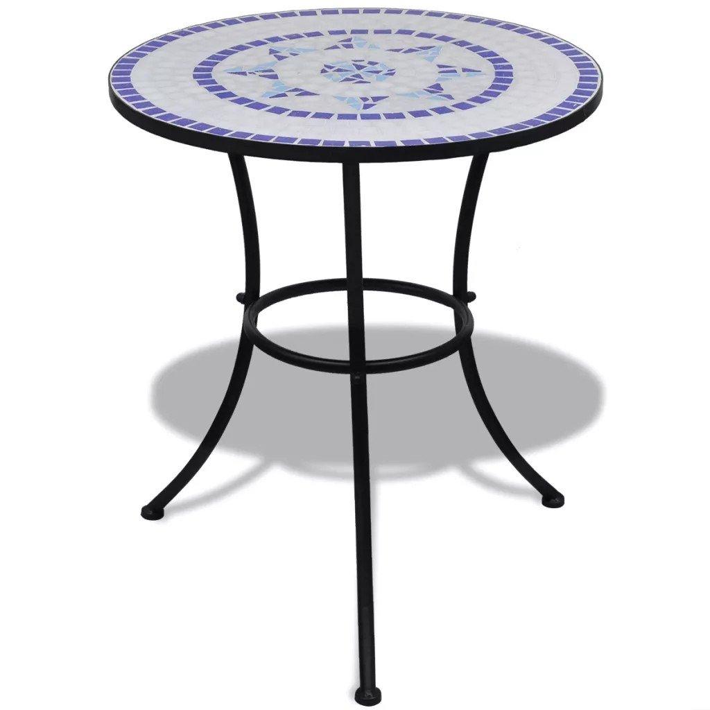Masă metalica rotunda cu blat mozaic 60 cm Alb/Albastru