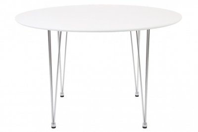 Masa rotunda din MDF si metal Lene White, 100xh72,9 cm, alba