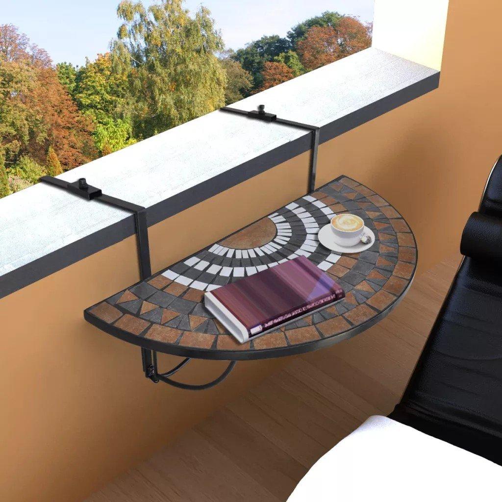 Masă suspendată pliabilă pentru balcon semi-circulară, roșu-oranj-alb, moaic