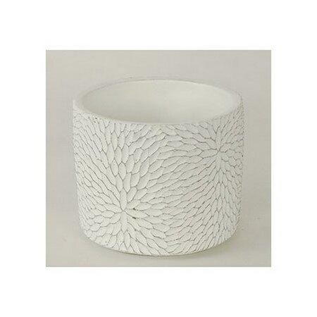 Mască de ghiveci din ciment Flower, albă, 12,5 cm