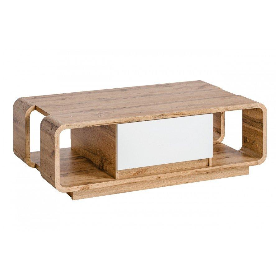 Masuta Skanso din lemn cu doua sertare, margini rotunjite