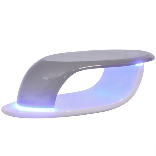 Măsuță de cafea, LED, din fibră de sticlă lucioasă, albă și gri