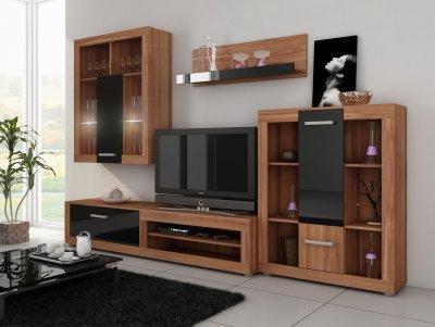 Mobilier camera de zi Viki 7, lemn prun+negru lucios, design modern
