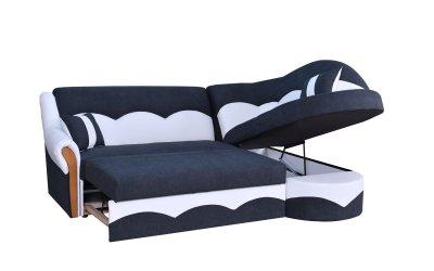 Colțar Leon, alb-negru, extensibil, cu lada de depozitare