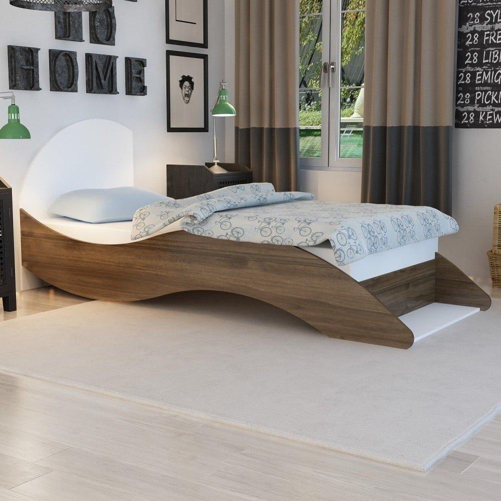 Pat de o persoană în decor de lemn de nuc Leni, 90 x 210 cm