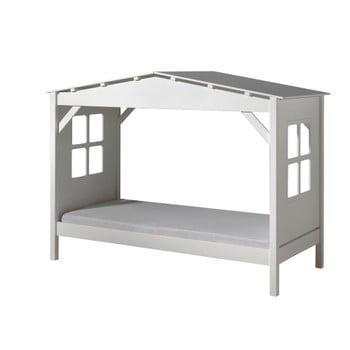 Pat alb în formă de casă pentru copii Vipack Pino Cabin, dimensiune 90x200 cm