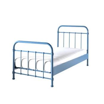 Pat metalic pentru copii albastru, 90x200cm