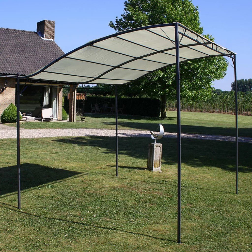 Pavilion din material textil alb-crem