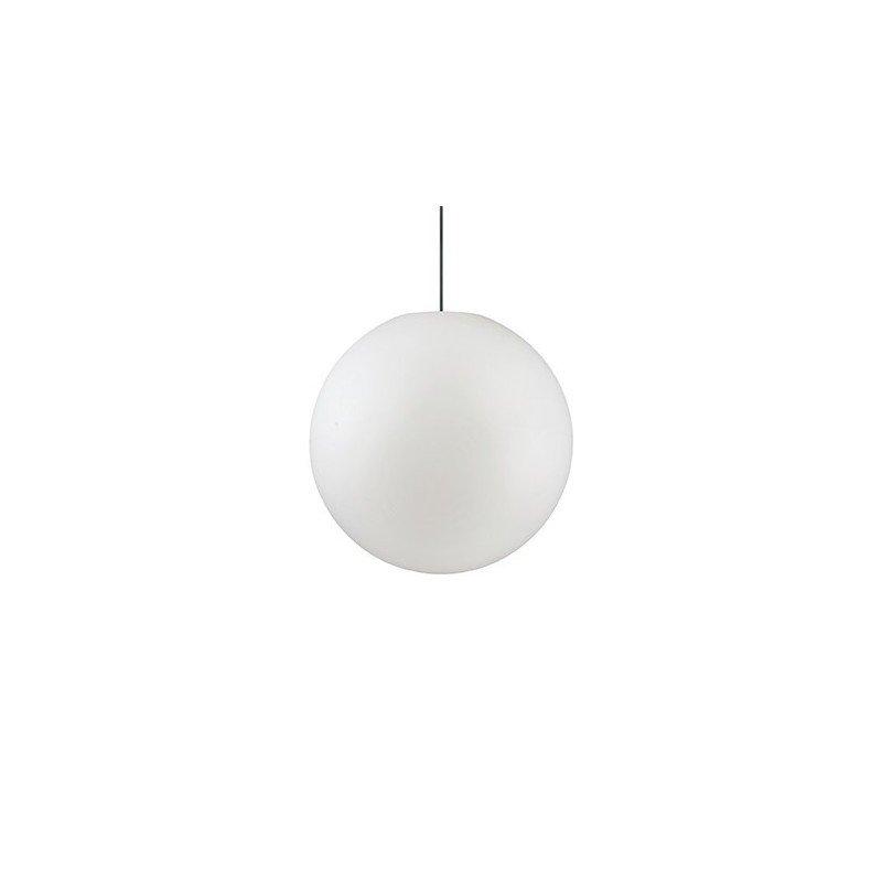 Pendul iluminat exterior Sole, abasur sferic alb, plastic si aluminiu