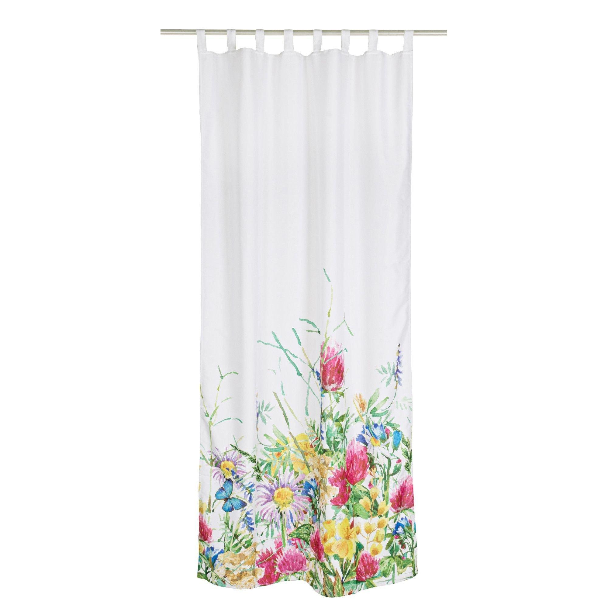 Perdea decorativa textil Flowers 140x280, alba cu imprimeu floral