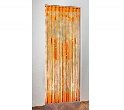 Perdea pentru usa din bezi, portocalie cu model decorativ  cu fluturi