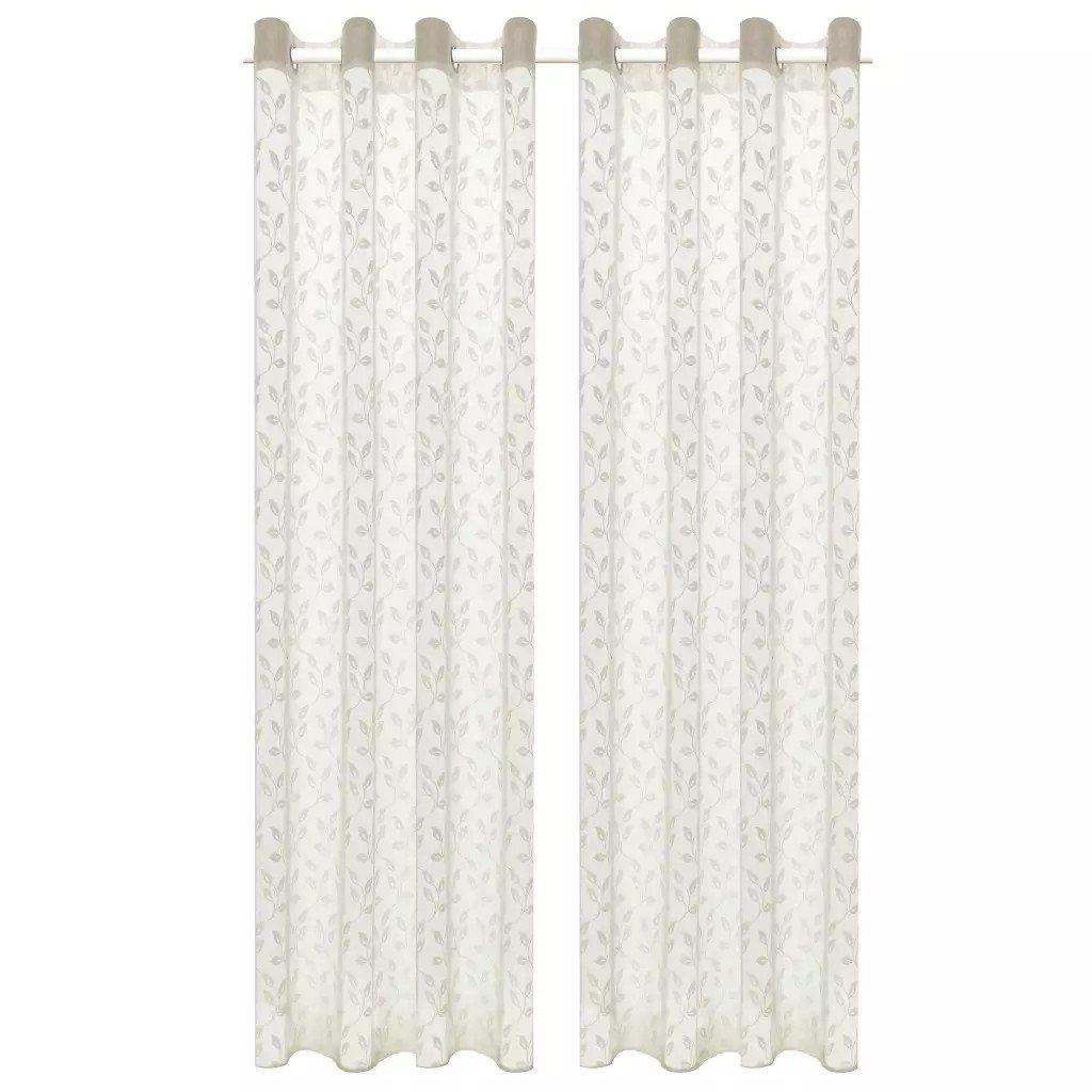 Perdele transparente brodate, 2 buc, 140 x 225 cm, frunze, crem