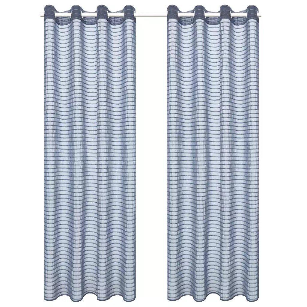 Perdele transparente, cu dungi, 2 buc, 140 x 175 cm, gri oțel