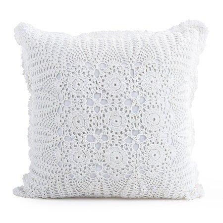 Pernă  decorativa tricotată Gita albă, 40 x 40