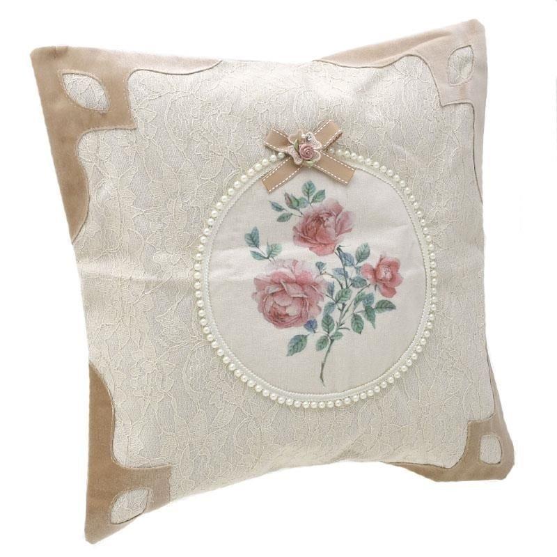 Perna decorativa Velvet, crem, din catifea, cu perle, 45x4
