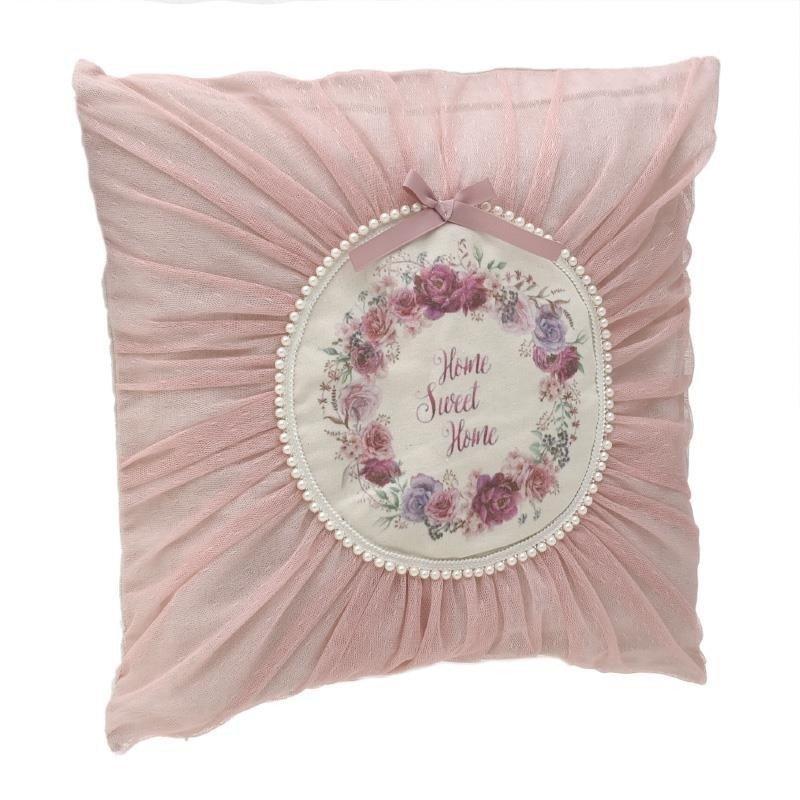 Perna decorativa din textil roz-alb cu perle 45X45
