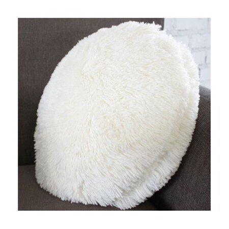 Pernă rotundă Domarex Queen, alb, 50 cm, pufoasa, cu fir lung