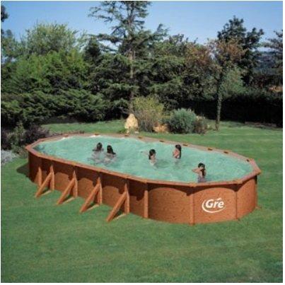 Piscina supraterana  DREAM POOL 6.10 x 3.75m adancime 1.32 m, ovala, cu cadru din otel si finisaj ce imita lemnul