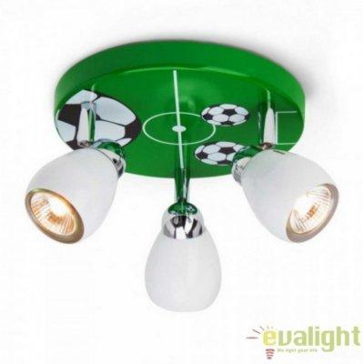 Plafonier pentru copii Soccer, alb-verde