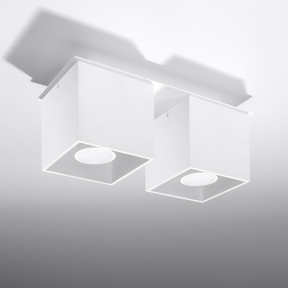 Plafonieră cu doua becuriNice Lamps Geo 2, alb, abajuruir cubice din aluminiu