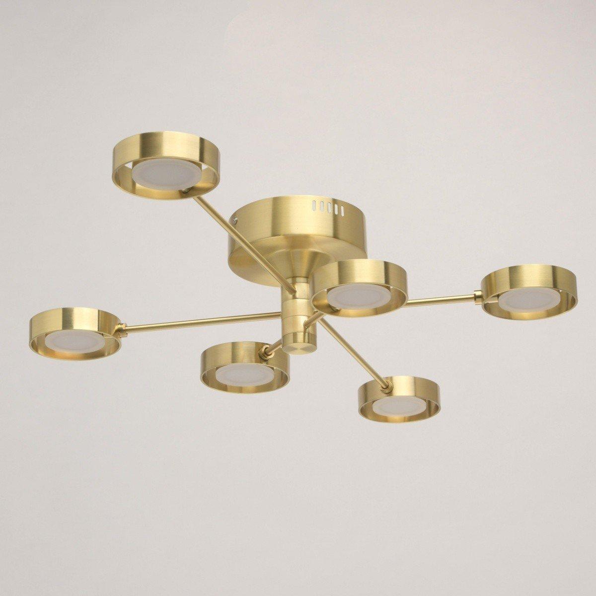 Plafoniera DeMarkt Techno, becuri radial, tip raze, LED, auriu