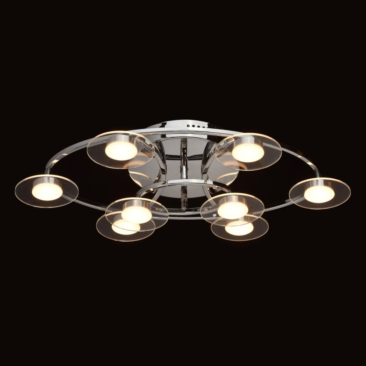 Plafoniera MW-Light Techno 632014708, crom, becuri asezate in cerc, design modern