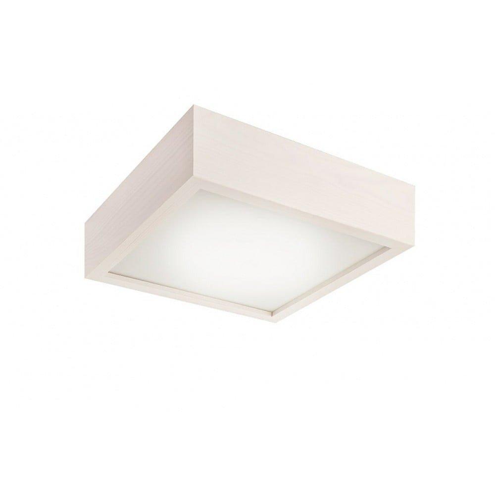 Plafonieră pătrată Lamkur Plafond, 27,5 x 27,5 cm, alb, lemn si sticla