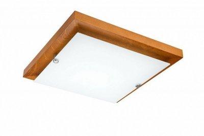 Plafoniera pentru baie,  patrata 30x30,  lemn rustic/sticla
