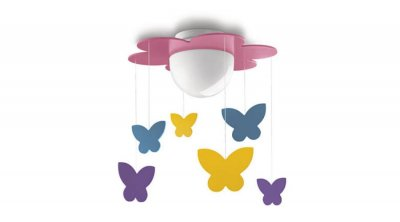 Plafoniera pentru camera de copii  Philips cu fluturi multicolori suspendati