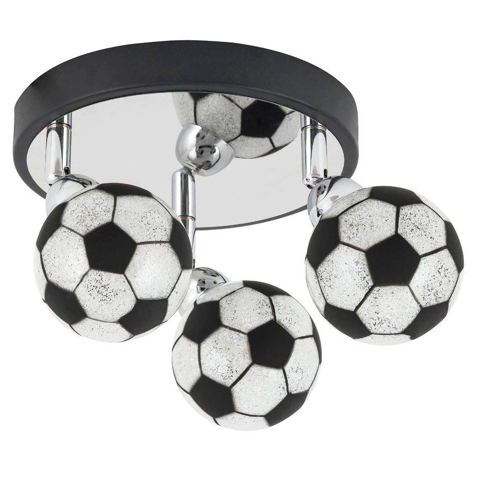 Plafoniere pentru copii crom negru 3 x G9 max. 15W,  abajur minge de fotbal, din sticla