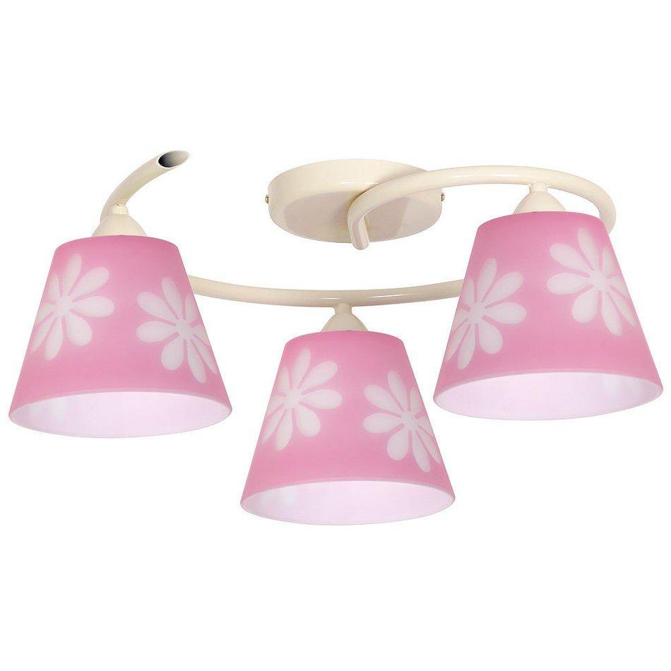 Plafoniere pentru copii metalica cu 3 abajururi roz,  3xE27 max. 60W 20x45 cm,