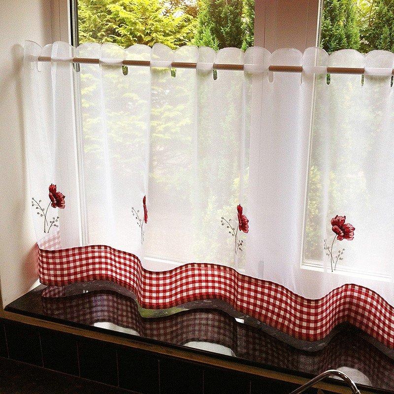 Poppies Vitraj Voal alb cu broderie rosie cu maci
