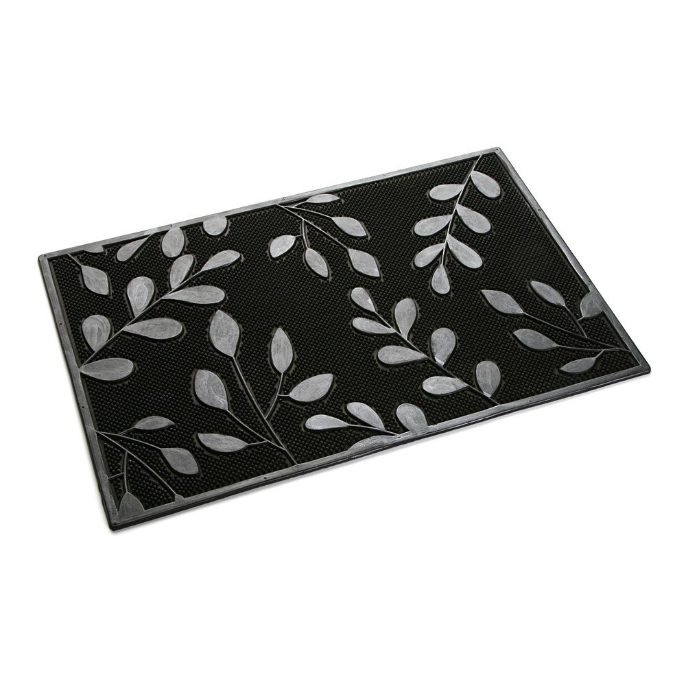 Preș VERSA Rubber Leaves, negru cu gri