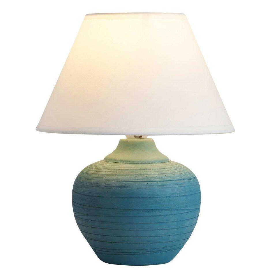 Rábalux Molly 4392 Lampa de masa de noapte albastru alb 1 x E14, 25 x 20,5 x 20,5 cm, ceramica cu abajur textil