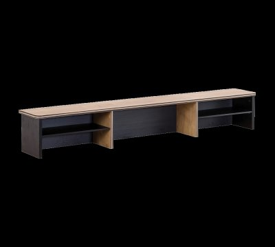 Raft din pal aferent masei de birou, pentru tineret Blacky Black / Nature, l138xA21xH22 cm