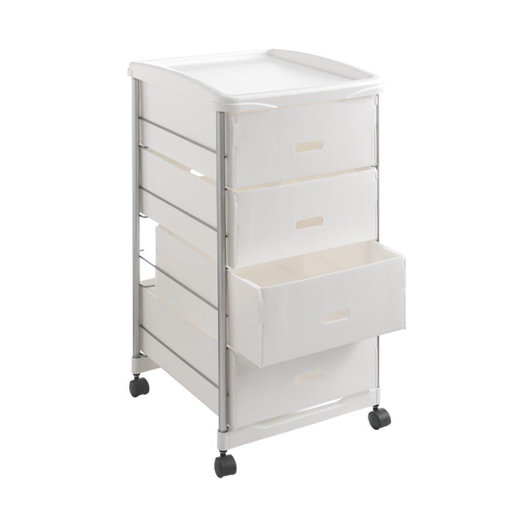 Raft pe roți, cu sertare, Metaltex, înălțime 72 cm , 4 sertare