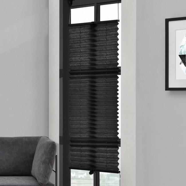 Roleta armonica / perdea plisata - 60 x 100 cm - negru - protectie impotriva luminii si a soarelui - jaluzea - fara gaurire, neagra