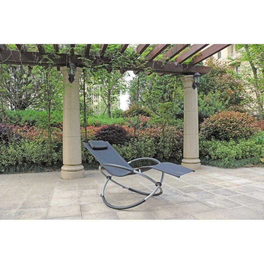 Scaun balansoar de grădină ADDU Milos, negru, textil