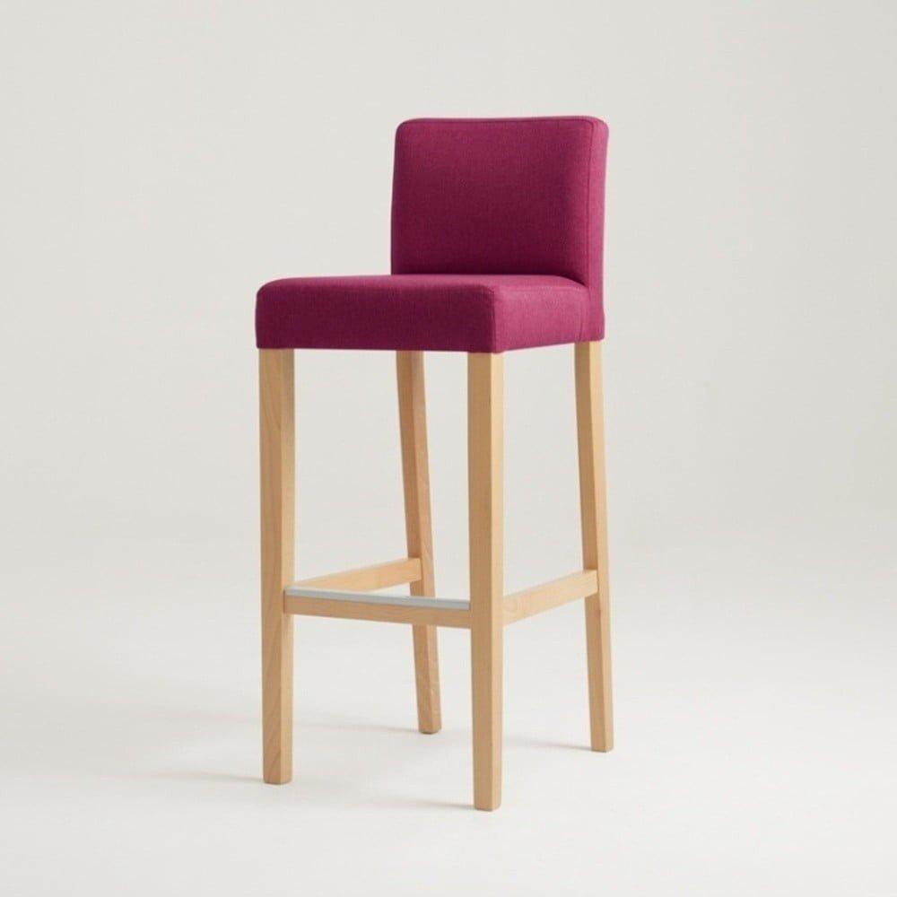 Scaun bar cu picioare din elmn masiv de culoare naturală, sezut cu spatar tapitat, Custom Form Wilton, roz