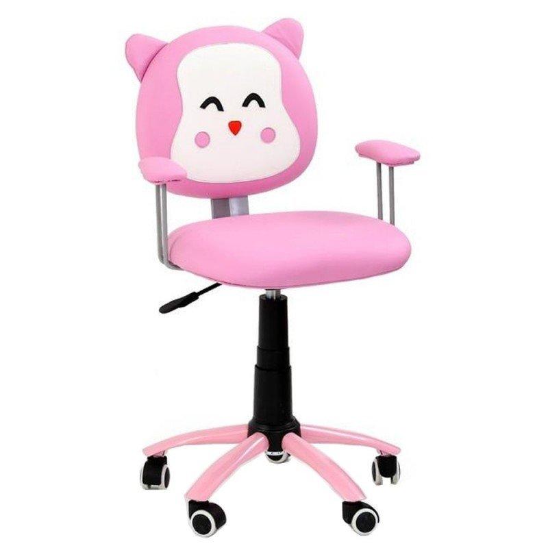 Scaun birou copii HM Kitty, piele ecologica roz, inaltime reglabila