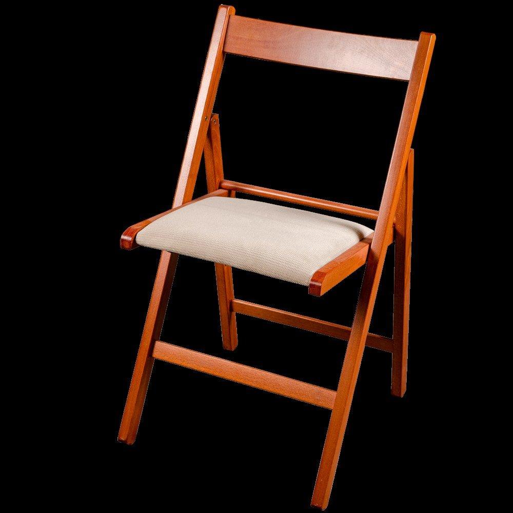 Scaun bucatarie / living pliant, tapitat, lemn cires + stofa K8 bej