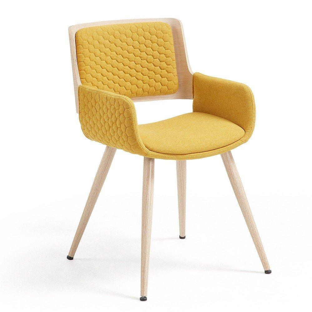 Scaun cu picioare din lemn și cotiere La Forma Andre, galben, tapiterie textila, stil scandinav