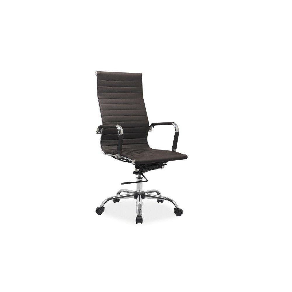 Scaun de birou rotativ, design modern, cu tapiterie din piele ecologica si cadru din metal cromat