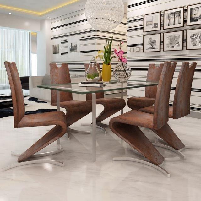 Scaun de bucătărie 6 buc, consolă în H, piele artificială maro, stil contemporan