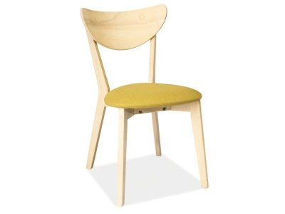 Scaun din lemn de stejar , cu sezut tapitat cu stofa galbena, stil scandinav