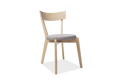 Scaun din lemn de stejar tapitat cu stofa, cu picioare din lemn Nelson Grey, sezut rotund, stil scandinav